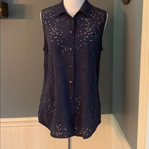 Equipment Navy Silk Stars Cutout Shirt Small